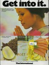 THAI INTERNATIONAL AIRWAYS 1974 GET INTO IT CHARMING HOSTESSES FIRST CLASS AD