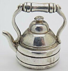 Vintage Solid Silver Italian Handmade Dollhouse Teapot Figurine Hallmarked