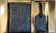 NEW COACH NAVY BLUE GLITTER PASSPORT HOLDER LUGGAGE TAG SET