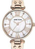 Womens Watch Anne Klein Glitter Pearl Face Accented White Leather Strap NEW