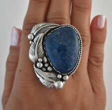 XL Sterling Silver & Deep Blue Sodalite Size 7.25 Layered Appliqué 27 G Ring