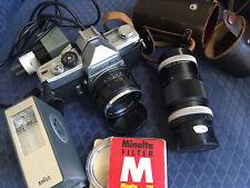 Minolta Sr-7 Film Camera W/ Rokkor-Pf 58mm F1.4 And 135mm Lenses + Accessories