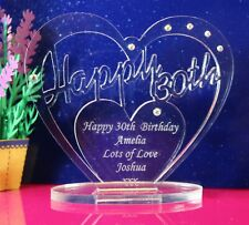 Personalised 30th Birthday  Heart Gift with message -  Free Standing Keepsake