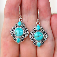 #E519 Boucles d'oreilles  Argent Massif 925 Turquoises