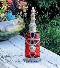 Antique Paris Bourjois Art Deco Red Glass Metal Ornate Filigree Perfume Bottle