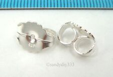 2x STERLING SILVER STUD POST EARRINGS BUTTERFLY CLUTCHES BACKS NUT  #2562