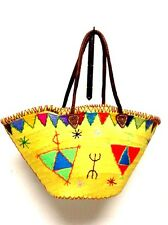 Handwoven & Leather Strap Shopping French Market Basket Bag Moroccan Yellow