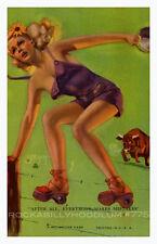 Pin Up Girl Poster 11x17 Mutoscope card Zoe Mozert Art Blonde Country Girl Bull
