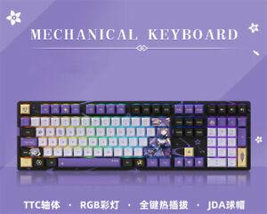 Genshin Impact Keqing Theme TTC Mechanical keyboard RGB JAD PBT Keycap Collectio