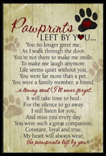 Grandparent Gifts Paw Prints Left By You Memorial Pet Plaque Size: 5Quot; By 7