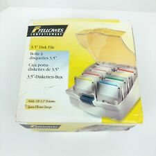 """Fellows Computerware 100 Disk File for 3.5"""" with Dividers Blue New In Package"""