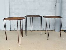 Midcentury Set 3 Perforated Metal Stacking Tables Maurice DUCHIN Richard GALEF