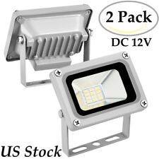 2X 10W LED Flood Light Spotlight Cool White Shop Street Security Fixtures DC 12V