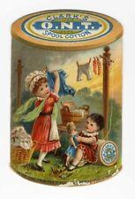 CLARK'S ONT Spool Cotton Sewing Thread DIE CUT Victorian Trade Card CHILDREN