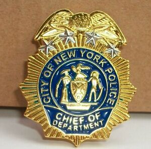 NYPD Police Chief of Department MINI badge shield LAPEL PIN not coin