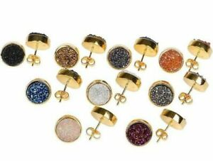 Gorgeous Natural Round Gold Druzy Stud Earrings 10mm 24ct Gold Plated 5 Colours