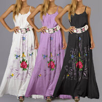 Womens Beach Sleeveless Backless Baggy Party Floral A Line Bohemia Maxi Dress