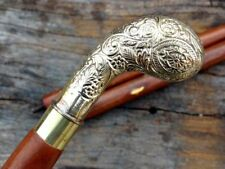 Vintage Flower Brass Design Head Foldable Walker Wood Walking Stick Canes Shaft