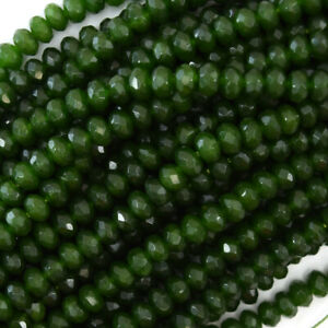 """6mm faceted Canada green jade rondelle beads 15.5"""" strand"""