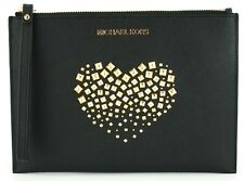 Michael Kors Wristlet Clutch Bag Black Studded Heart Saffiano Leather