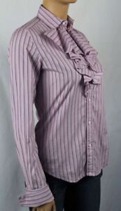 Ralph Lauren Pink Purple Stripe Ruffle Shirt Blouse NWT