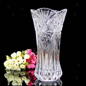 Crystal Glass Flower Vase Plant Hydroponic Container Home Office Table Decor