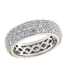 Absolute™ Cubic Zirconia Sterling Silver 3-Row Pavé Eternity Ring Size 7 HSN $60