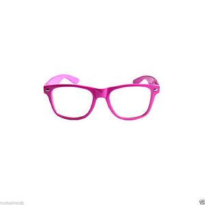 Retro  Nerd Fashion Unisex Eyewear Clear Lens Fake Eye Glasses  Hot Pink Frame