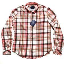 Saint James Ambre Button Front Top Blouse Sz 10 Pink Brown Plaid Long Sleeve