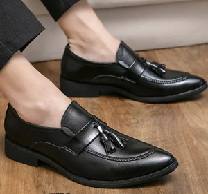Mens Leather Business Shoes Slip-on Tassel Pumps Pointed Toe Casual Plus Loafers