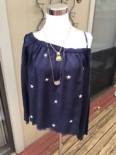 New ANTHROPOLOGIE CLOTH AND STONE Off the Shoulder Top Shirt Blue Star S small