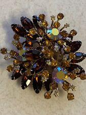 "Amazing Vintage 3"" Goldtone Amber AB Rhinestone Flower Statement Brooch Pin"