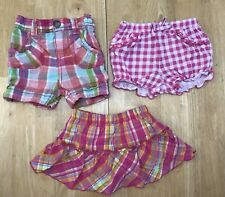 Lot Baby Girls 9 Months Pink Orange Green Plaid Shorts Skirt Skorts