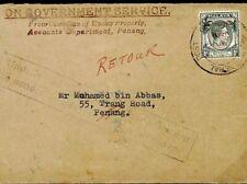 MALAYA RETOUR WW2 Interrupted Official OGS CUSTODIAN ENEMY PROPERTY c1942 U86f