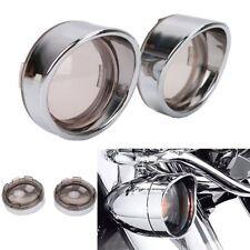 4pcs Chrome Turn Signal Visor Ring Kit Smoked Lens Cover For Harley XL883 XL1200