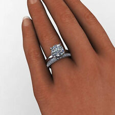 3.04 Ct Diamond Engagement Wedding 14K Solid White Gold Band Sets Size N M J O P