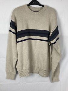 Roundtree & Yorke Men's Sweater Beige Gray Blue Stripes Size Med Popover