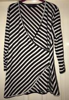 BNWOT Tallgirls Wrap Top, Black + White Stripe - Size 14-16 Tall - Fab!