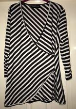 Tallgirls Wrap Top, Black + White Stripe - Size 14-16 Tall - BNWT!