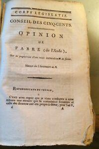 OPINION DE FABRE (de l'AUDE) SUR  VENTE EXTRAORDINAIRE DE FUTAIE. 1800.