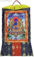 Thangka Medizinbuddha Kunstdruck im tibetischen Brokatrahmen 63 x 105 cm Nepal
