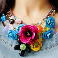 Fashion Crystal Flower Choker Bib Chunky Statement Chain Necklace Women  t