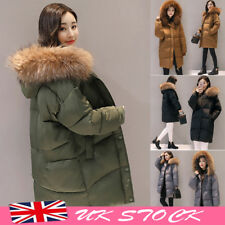 UK Winter Women's long Down Cotton Parka Fur Collar Hooded Coat Quilted Jacket