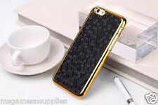 Black / Gold Chrome Honeycomb Honey Comb Plastic Case for iPhone 6+ 6PLUS 5.5
