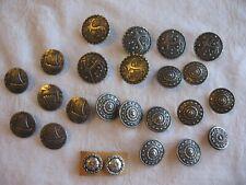 "Lot Of 24 Silvertone Shank Buttons Range In Size 1/2"" --3/4""-- 1"" Nice!!"