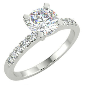 1.12 Ct Round Cut SI1/E Solitaire Pave Diamond Engagement Ring 14K White Gold