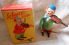 Schuco Solisto Windup Tin Litho Clown Playing Violin 4 1/2 in w/ Original Box