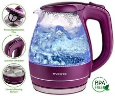 Ovente Glass Electric Tea Coffee Kettle Cordless Hot Water Boiler Pot Purple