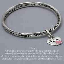 Friend Bracelet Heart Charm Twisted Bangle SILVER Friendship Gift Message
