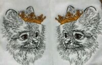 Pomeranian Dog Bathroom SET OF 2 HAND TOWELS EMBROIDERED